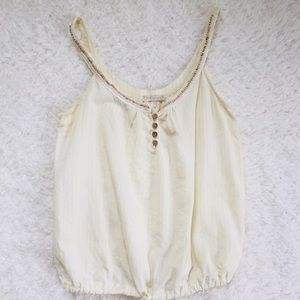 🌵Just Ginger Sleeveless Cream Top Tie Front